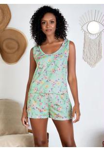 Pijama Regata Com Renda Verde Menta