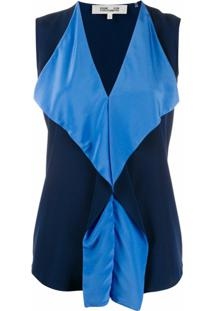 Dvf Diane Von Furstenberg Blusa Com Babados Isabel - Azul