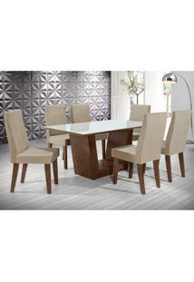 Conjunto De Mesa De Jantar Viena Com 6 Cadeiras Cannes I Veludo Off White E Bege