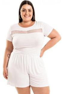Macaquinho Malha De Viscose Com Tule Miss Masy Plus Size Feminino - Feminino-Branco