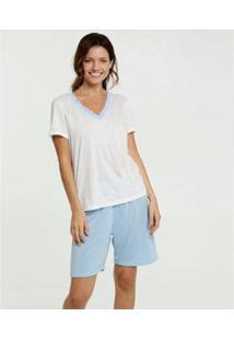 Conjunto De Pijama Marisa Estampa Bolinhas Manga Curta Feminino - Feminino-Branco+Azul