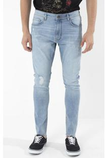 Calça Skinny Em Jeans Com Puídos