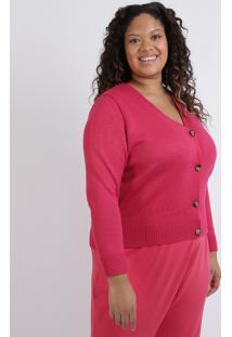 Cardigan Feminino Plus Size Decote V Com Botões Pink