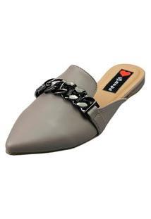 Sapatilha Bico Fino Love Shoes Mule Confort Detalhes Correntes Cinza