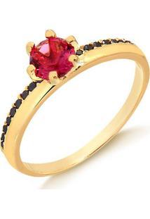 Anel Solitário Com Pedra Rosa E Zircônias Pretas Folheado Em Ouro 18K - 1140000004136 16