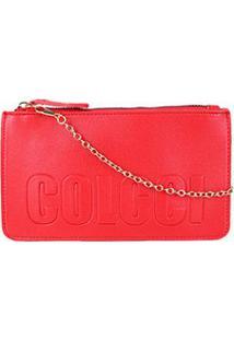 Bolsa Colcci Mini Bag Logo Alça Corrente Feminina - Feminino-Vermelho