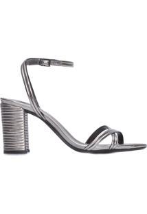 Sandália Feminina Texture Metallic - Prata