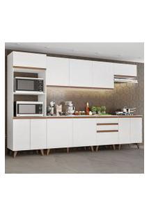Cozinha Completa Madesa Reims 320002 Com Armário E Balcão Branco Cor:Branco