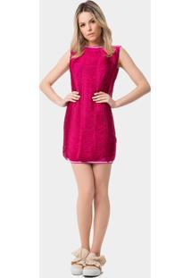 Vestido Reto Com Franjas Rosa Spice Pink - Lez A Lez