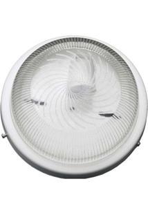 Plafon Para 1 Lâmpada Raiado Sem Grade E Com Vidro Transparente Branco Joanto