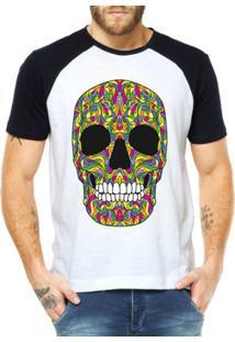 Camiseta Criativa Urbana Raglan Caveira Colorida Mexicana - Masculino-Branco