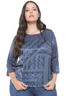 Blusa Gris Plus Étnica Azul-Marinho