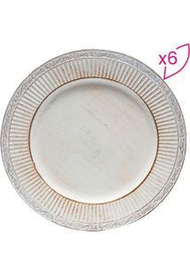 Jogo De Sousplat Com Relevo- Branco & Marrom- 6Pã§Sbon Gourmet