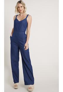 Macacão Jeans Feminino Com Amarração Alça Média Azul Escuro