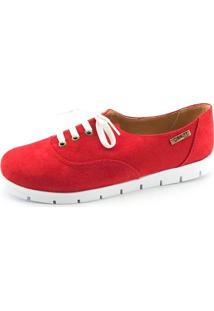 Tênis Tratorado Quality Shoes Feminino 005 Camurça Vermelha 35