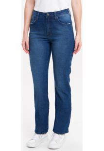 Calça Jeans Feminina Five Pockets Reta Cintura Média Azul Marinho Calvin Klein - 34