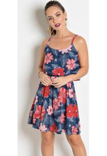 Vestido Com Sobreposição De Bbado Floral