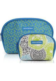 Kit Necessaire Com 2 Unidades Jacki Design Poliéster - Feminino-Azul