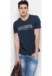 043241c397087 ... Camiseta Calvin Klein Gola Careca Logo Frente Masculina - Masculino