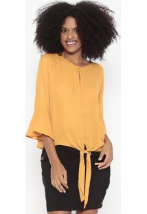 Blusa Com Amarração & Botões - Amarelo Escuro - Woolwool Line