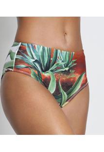 Calcinha Hot Pants Acetinada Com Laycra®- Verde & Marromlivelle