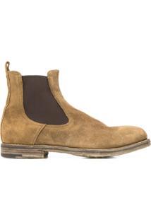 Premiata Ankle Boot Com Recorte Contrastante - Marrom