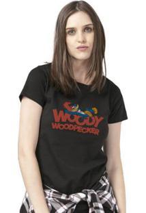 Camiseta Bandup! Pica-Pau Cartoon - Feminino-Preto