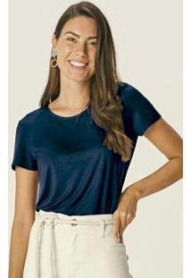 Blusa Azul Marinho Tradicional Em Modal