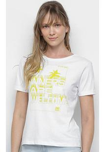 Camiseta Ellus 2Nd Floor Sinners Are Welcome Feminina - Feminino-Branco+Verde