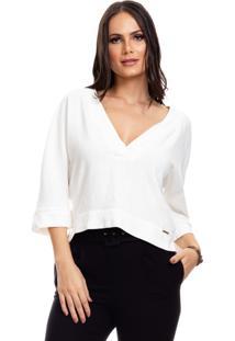 Blusa Clara Arruda Linho Minimalista 20590 Off-White