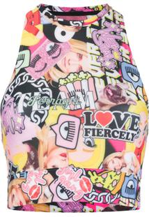 Chiara Ferragni Blusa Cropped Com Estampa Collage - Rosa