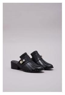 Sapato Loafer Mule Faixa Vitorino Campos Preto