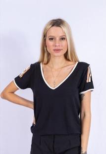Blusa Detalhe Off Fivela Up Side Wear Feminina - Feminino-Preto