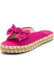 Sandália Rasteira Aberta Confort Flat Linho Rosa Pink - Kanui