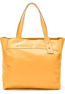 Schutz Bolsa Tote Shoppjng Yam De Couro - Amarelo