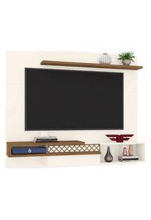 Painel Para Tv Até 65 Polegadas Sala De Estar Essence Off White/Canela - Frade Movelaria