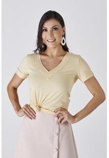 T-Shirt Areia Decote V Francoso Cloã¡ - Multicolorido - Feminino - Dafiti