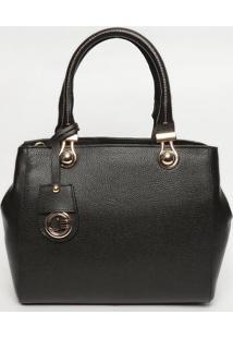 Bolsa Em Couro Com Bag Charm - Preta- 25X30X10Cmjorge Bischoff