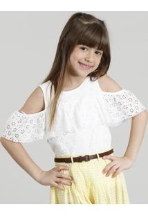 Blusa Infantil Open Shoulder Em Renda Com Babado Manga Curta Decote Redondo Off White