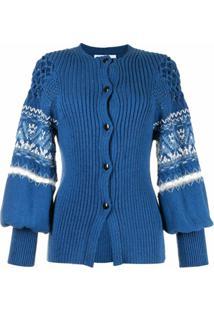 Mame Kurogouchi Cardigan De Tricô Com Padronagem - Azul