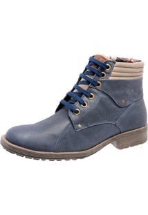 Bota Em Couro Mega Boots 1001 Azul Marinho
