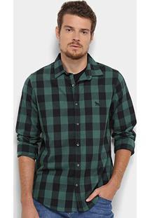 Camisa Xadrez Acostamento Manga Longa Masculina - Masculino-Verde+Preto