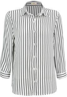 Camisa Intens Manga Longa Crepe Listrado Branco