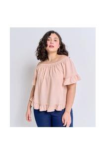 Blusa Ombro A Ombro Maquinetada Curve E Plus Size Rosa