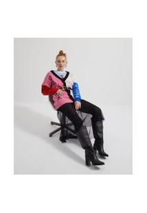 Cardigan Com Estampa Em Tricô | Blue Steel | Rosa | Pp