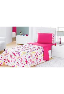 Edredom Solteiro Estampado Kids 1 Peça Pirulitos Dourados Enxovais Pink,