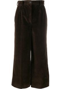 Dolce & Gabbana Calça Cropped Cintura Alta - Marrom