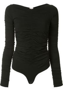Khaite Ruched V-Neck Bodysuit - Preto