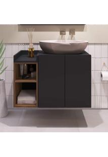 Gabinete Para Banheiro 2 Portas Belmiro Estilare Móveis Preto/Madeirado