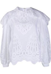 Alberta Ferretti Blusa Com Bordado Inglês - Branco